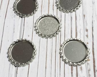 No Hole Flat Bottle Caps, Pendant, Silver, Linerless, Hair Bow Centers - 10 PCS
