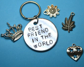 Best friend gift, Best friend keyring, Best friend key ring, Birthday gift, Engraved name, uk, personalised ,Custom gifts, Gift for friend,