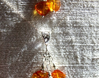 Amber Necklace and Earrings Set