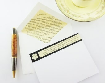 Wuthering Heights Stationery | Recycled Book Stationery | Emily Bronte Stationary | Lined Envelopes | Book Lovers Gift | Upcyled Stationery
