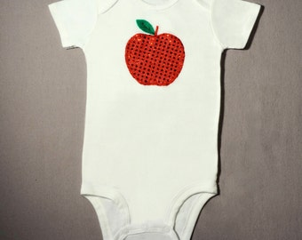 Personalizable Sparkly Big Apple Bodysuit-September Baby Bodysuit-Teacher Gift - Newborn to 24 months - Unique Shower Gift or Month Pictures
