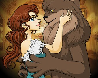 Beauty and the Beast- Original illustration print