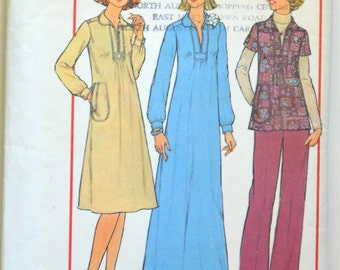 1970s Simplicity Vintage Sewing Pattern 7755, Size D (12 & 14); Misses' Dress in Two Lengths or Top