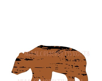 Bear distressed  SVG   cut file  t-shirts  animalsscrapbook vinyl decal wood sign cricut cameo Commercial use