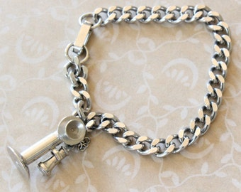 Vintage Articulated Candlestick Telephone Charm Bracelet Silver Tone
