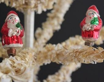 Pair of Vintage Mercury Glass Santa Clip-on Ornaments