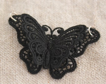 Belgian Black Lace Butterfly Necklace with Sterling Silver Chain