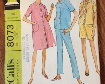 60s McCall's Housecoat/Pajamas Sewing Pattern 8073