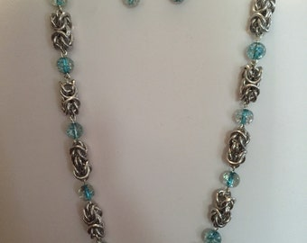 Byzantine chain maille with blue aqua glass beads necklase and earrings set