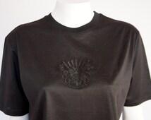 Hermes Paris vintage authentic cotton blouse t shirt embroiderde HERMES in black never worn