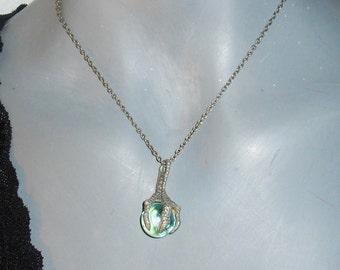 Bird Claw Marble/Stone PENDANT Chain Silvertone Goth/Grunge Necklace