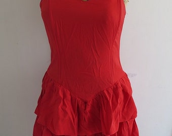 80s Vintage Red Flounce Dress size 36