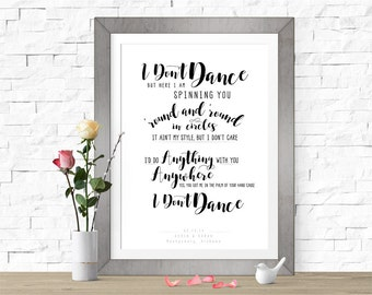 I Don't Dance | Lee Brice | DIGITAL FILE (Prints Available) | Custom Wedding Song Lyrics | Wedding Gift | Personalized | First Dance