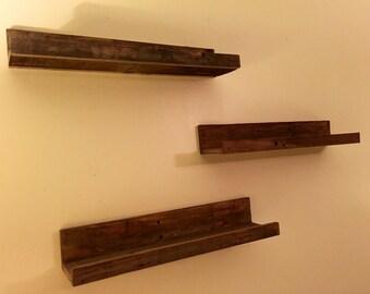 "Hanging Wood Floating Shelves, Wall Shelves; Set of Three Rustic Wood 24"" Shelves; 24 inch Wood Floating Shelves; Handmade Custom Pallet Woo"