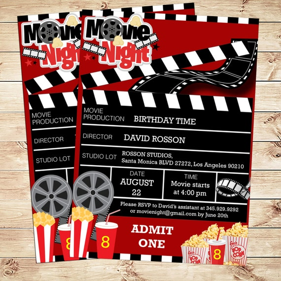 Movie ticket invitation instant download and Editable file | Movie ...