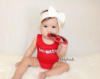 "Kids Size - ""BAE WATCH""© Leotard / Crop Top /Shirt by Daily Threads (Kids Size: 2-12 years) / BaeWatch / Baywatch"