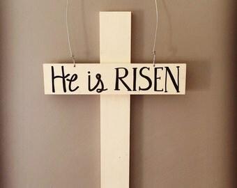 Easter Door Hanger - He is Risen - Cross - Wood Sign - Happy Easter