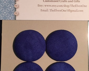 Fabric Covered Button Magnets - Dark Blue Circles