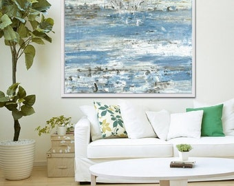 Large Abstract Painting, Abstract Art,  Original Artwork, Abstract Acrylic,  Blue Abstract, Contemporary Art, Beach Decor