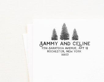 Rustic Tree Address Stamp - Personalized Address Stamp, Rustic Stamp, Nature Stamp, Tree Stamp, Outdoor Wedding, Rustic Wedding (Style 21)