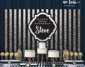 Black and Silver Backdrop   Adults Party Banner   Poster   Signage   Personalised   Printable ONLY   Birthday Backdrop
