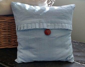 Light Blue Pleated Pillowcace