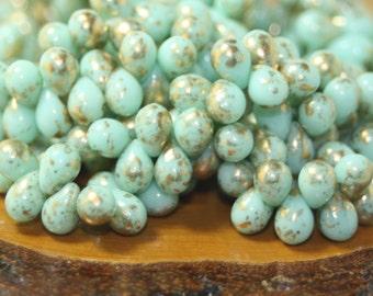 Czech Glass Drops 5x7mm 50 Beads