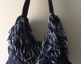 Large blue denim bag, Fringe denim shoulder bag, Hobo bag, Slouch bag, Hippi bag