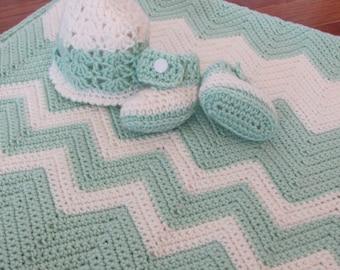 Newborn/Premie Handmade Crocheted Baby Blanket, Booties and Hat