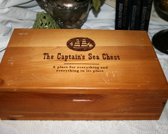 1960s Captain's Sea Chest//A Place For Everything//Captain's Box//Vintage Sea Captain's Box