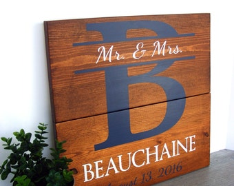 Custom Name Sign - 5th Anniversary Gift - Bridal Shower Gift - Wedding Gift - Wood Anniversary Present - Personalized Engagement Gift