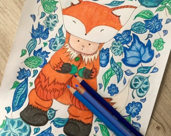 Fox and Leaves Adult Colouring Page. Digital Coloring Page. Coloring Page Download. Colouring In Page. Printable PDF. Instant Download