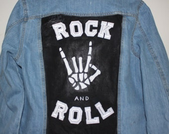 Rock & Roll - Hand painted denim jacket