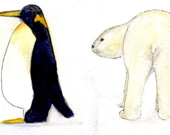 Winter Polar Bear and Penguin Stickers for Planner