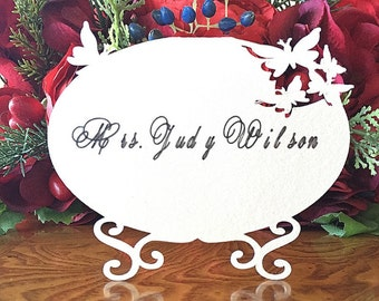 Floating Butterflies on Oval Placecards