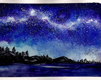 """Watercolour paining - A5 """"Starry Night"""""""