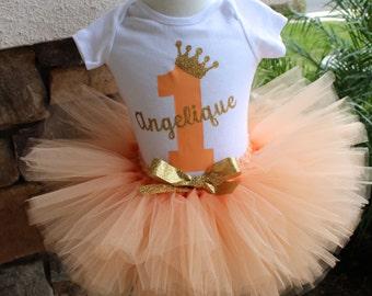 Peach and Gold Tutu Set, Peach Tutu, Birthday Shirt, Birthday Tutu, 1st Birhtday Tutu, Glitter Crown, Bodysuit, Personalized Birthday Shirt