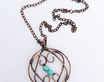 Copper Double Heart Pendant with Turquoise Magnesite Beads