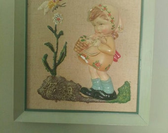 Vintage Chalkware in Frame- 3D little girl Made in Italy