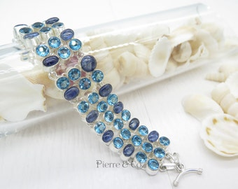 Triple Layer Kyanite and Blue Topaz Sterling Silver Bracelet