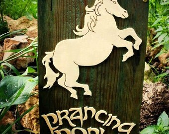 The prancing pony wooden plaque