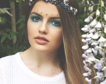 Blue and silver jewel headband