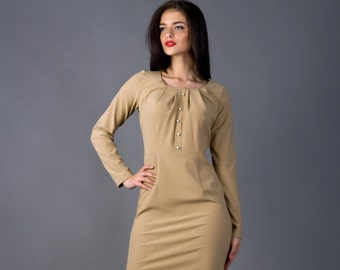 Elegant Long Sleeve Cocoa Dress by TAVROVSKA, Midi Fitted Biege Pencil Dress with Round Neckline and Buttons