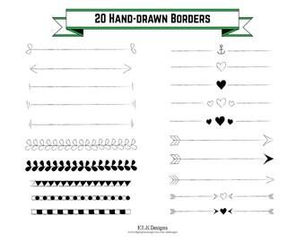 20 Digital Vector Hand-Drawn Borders, Text Dividers, Clip Art, 300 dpi, 1 EPS, Individual PNGs