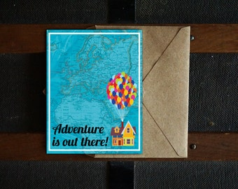 Adventure Is Out There Printable Card, Retirement Card, Travel Card, Moving Card, Blank Inside, 4.25x5.5, PDF