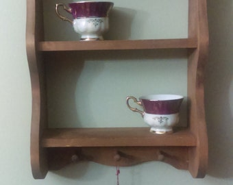vintage wooden wall shelf curio solid wood wall mount shelf.  Heart shaped cut-out Shelf 3 pegs