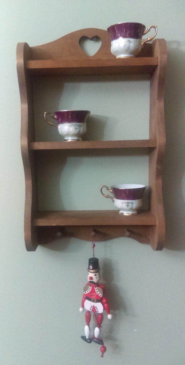 vintage wooden wall shelf curio solid wood wall mount shelf. Black Bedroom Furniture Sets. Home Design Ideas