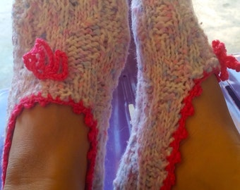 Handknit slipper socks