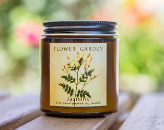 Girlfriend gift Floral Scented Soy Candle JASMINE, natural soy candles, mom gift, flower candle, 4 oz, Unique gift