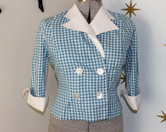 SALE! Vintage 1950s white blue gingham collared jacket XL 44